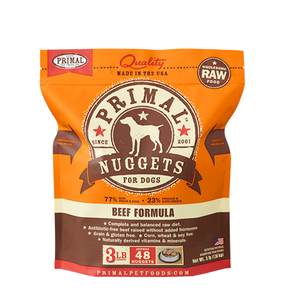 Primal Raw Frozen Dog Beef Formula Nuggets 3 Lbs.