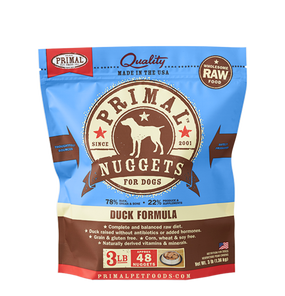 Primal Raw Frozen Dog Duck Formula Nuggets 3 Lbs.