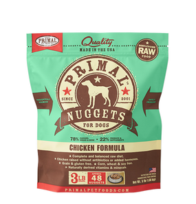 Primal Raw Frozen Dog Chicken Formula Nuggets 3 Lbs.