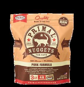 Primal Raw Frozen Feline Pork Formula Nuggets 3 Lbs.