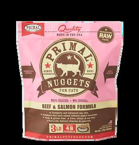 Primal Raw Frozen Feline Beef & Salmon Formula Nuggets 3 Lbs.