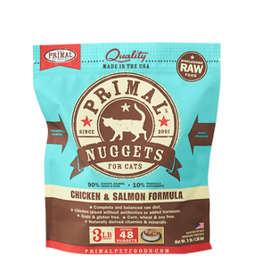 Primal Raw Frozen Feline Chicken & Salmon Formula Nuggets 3 lbs.