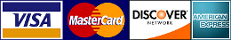 We Accept the all Major Credit Cards, VISA, Mastercard, Discover, American Express