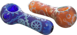 """4.5"""" Color Glass Tubing Spoon Hand Pipe Silver Fume & Sand Blasted Gears of Galaxy Design Etched Glass"""