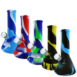 "9"" Silicone Beaker Water Pipe Bong with Glass Bowl"