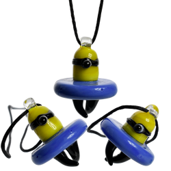 Glass Figurine Minion Yellow Carb Cap Pendent Necklace