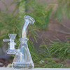"4.5"" Encore Collection Clear Beaker w/Popped Holes Glass Dab Rig - Thick Base (EC-R7705) - side"