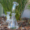 "4.5"" Encore Collection Clear Beaker w/Popped Holes Glass Dab Rig - Thick Base (EC-R7705) - Left Side"