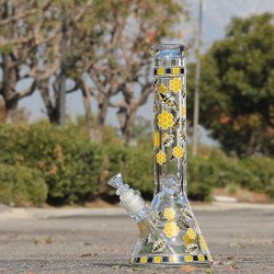 "14"" Honey Bee & Hive 50x7mm Glass Beaker Bong Water Pipe (Glow in the Dark) (TP-126-1) - Side"