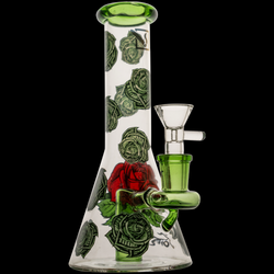 "12"" 50x5mm Clear Beaker with Money Rose Print & Fixed Stem Hanger Rig"