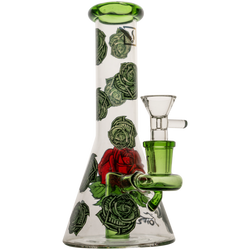 """12"""" 50x5mm Clear Beaker with Money Rose Print & Fixed Stem Hanger Rig"""