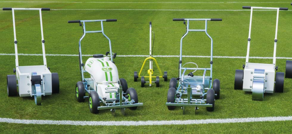 Grass white line markers for marking out sports pitches.
