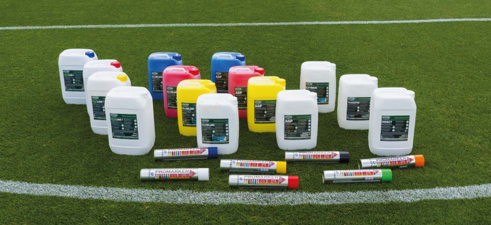 Sports pitch line marking paint from Pitchmark, suppliers of line marking paint and equipment to the sports and leisure industry worlwide.