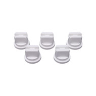 5 pack of white flat fan nozzles for spray line marking machines.