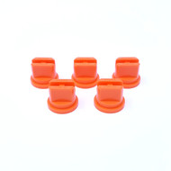 5 pack of orange flat fan nozzles for spray line marking machines.