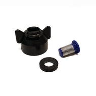 Bundle pack of a flat fan bayonet cap, a blue 50 mesh filter and a rubber seal for use with flat fan nozzles on Pitchmark spray line marking machines.