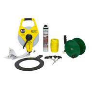 Grassroots initial line marking kit including 100 metre measuring tape, mini hand reel, 200 metre of string, penalty spot marker, 345 triangle, aerosol can and 4 pitch pegs.