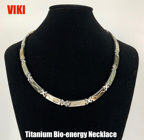 VIKI - 2 Tone Silver Polish with Gold Lining Titanium 20 Inch Necklace Magnets & Germanium