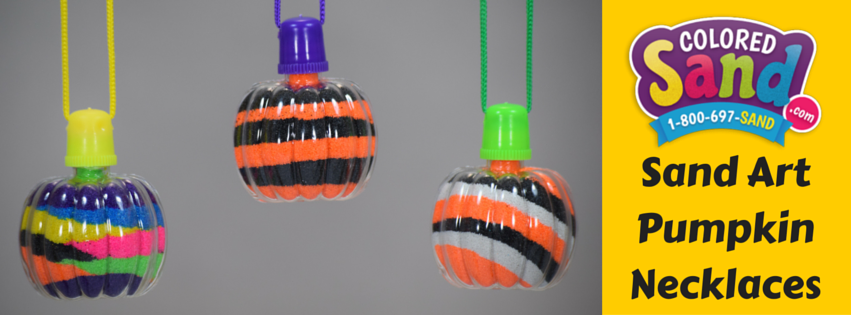 Sand art pumpkin necklaces
