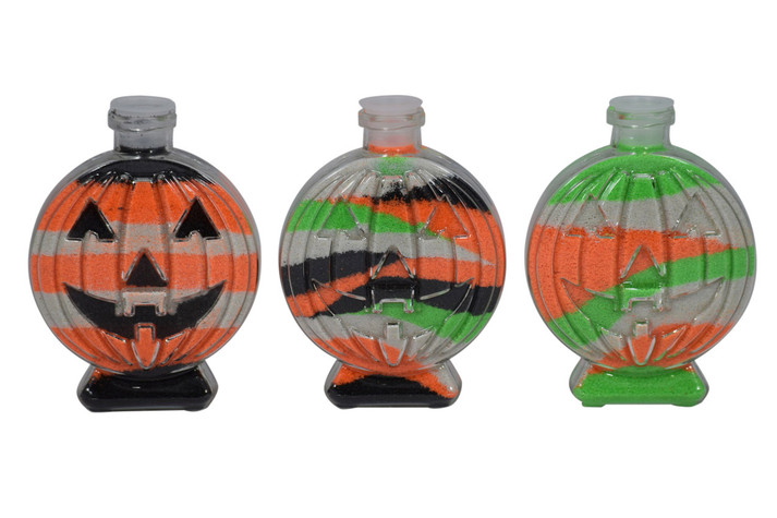 Pumpkin sand art bottles