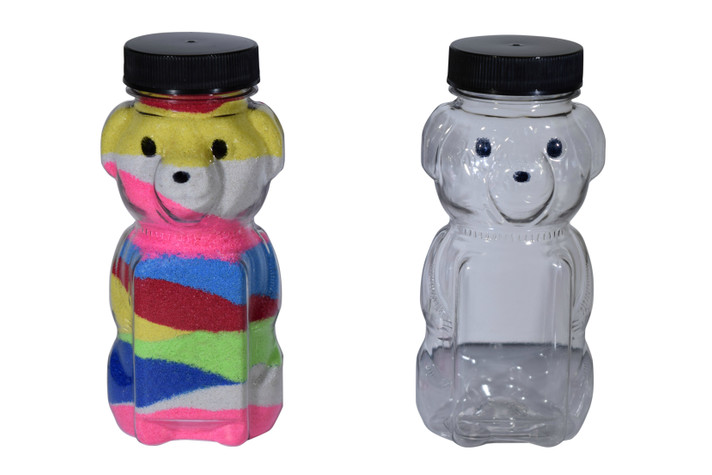 Small plastic bear sand art bottle