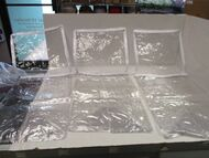 "LOT OF 3 Clear Vinyl Storage bags W/ WHITE ZIPPER & TRIM-16"" X 10"" X 10"""