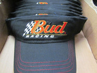 LOT OF 3 VINTAGE BUD RACING BLACK VISORS-Official Product of Anheuser-Busch[3008