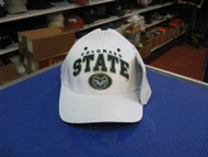 COLORADO STATE-NEW WHITE CAP W/ TEAM NAME & LOGO IN DK GREEN ON FRNT-ADJUSTABLE