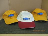CHEVROLET/CHEVY-LOT OF 3 MIXED cap hat 2 dk yellow+1 khaki w/ dk red bill[3003