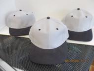 LOT OF 3 GRAY CAP HAT BLACK BILL EYELETS& BUTTON BLANK BUCKLE ATT HEADWEAR