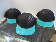 LOT OF 3 BLACK 6 PANEL CAP HAT W TEAL SUEDE FEEL BILL & BUTTON-TEAL EYELETS