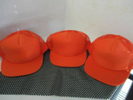 LOT OF 3 NEW ALL ORANGE CAP HAT 5 PANEL FRONT PUFFY TRUCKER ROPE NISSUN
