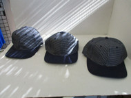LOT OF 3 NEW NAVY WHITE PLAID CAP HAT NAVY BILLS EYELET BUTTON 6 PANEL A161