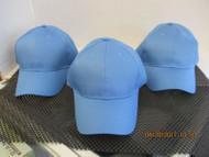 LOT OF 3 NEW VINTAGE Sky Blue cap hat 6 Panel hook&loop 100% cotton OTTO