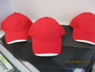 LOT OF 3 NEW VINTAGE RED CAP HAT WHITE ON TIP OF BILL 6 PANEL HOOK LOOP by ATT