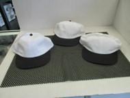 LOT OF 3 NEW VINTAGE WHITE SPORTS MESH CAP HAT BLACK BILLS BUTTON SNAP