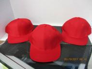LOT OF 3 NEW-VINTAGE RED CAP HAT 6 PANEL BUCKLE LEATHER ATT HEADWEAR