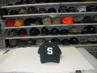 """MICHIGAN STATE SPARTANS-GREEN CAP W/ WHITE """"S"""" & THIN BLACK OUTLINE- SIZE 6 7/8"""
