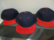 LOT OF 3-NAVY BLUE 6 PANEL CAP HAT W/RED SUEDE FEEL BILL & BUTTON-RED EYE