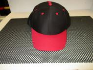 Vintage (NOS) VINTAGE BLACK CAP HAT-RED BILLS/ACCENTS-6 PANEL-MOHR