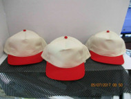 VINTAGE LOT OF 3 NATURAL CAP HAT W/ RED BILLS & ACCENTS MADE BY KC