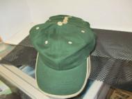 Vintage NOS DARK GREEN CAP HAT KHAKI TRIM ON BILL EYELETS BUTTON HOO