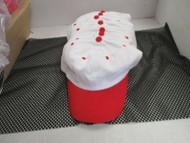 VINTAGE NOS WHITE CAP HAT-RED BILLS/ACCENTS-6 PANEL-COTTON-ATT