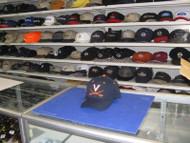"Vintage VIRGINIA CAVALIERS-BLACK CAP W/""V"" IN WHITE 2 SWORDS IN ORANGE ON FRONT"