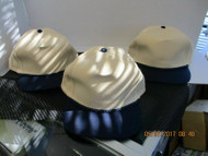 VINTAGE-LOT OF 3-NATURAL CAP HAT W/ NAVY BILLS & ACCENTS-SNAP by FALCON[3041]