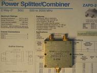 Mini-Circuits ZAPD-21-1 DC Pass Power Splitter Combiner 500 MHz to 2000 MHz