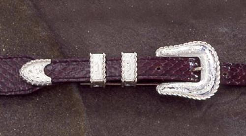 The Denison Sterling Silver 4PC Ranger Buckle Set