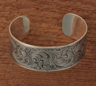 "Sterling silver engraved cuff 1"" wide"