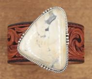 Genuine white bucffalo Turquoise tooled