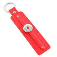 LEATHER STAINLESS STEEL KEYCHAIN REMOVABLE - RUBY RED